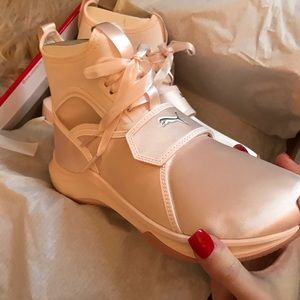 Baby Pink Puma Lace-Up Sneakers